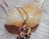 Charity Necklace - Silver Honeycomb and Bee Pendant filled with Purple Queen Anne's Lace Encased in Resin on Silver Chain