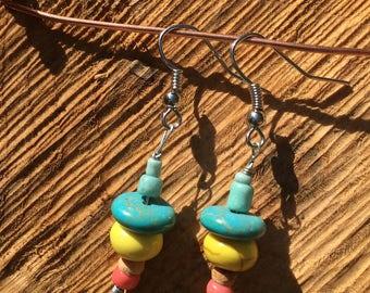 Turquoise, Yellow & Pink Chunky Dangle Earring
