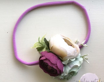 Newborn headband- plum headband- sage headband- newborn prop- newborn photography