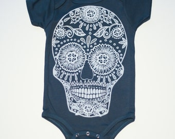 Sugar Skull infant one piece bodysuit-Unisex-Organic Cotton Royal Apparel-calavera-day of the dead-skulls- halloween-baby gift-baby shower
