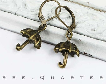 Earrings, umbrella, rain, autumn, clouds, antique bronze, vintage, charm, cute, sweet, boheme, gift, seasons, nostalgic