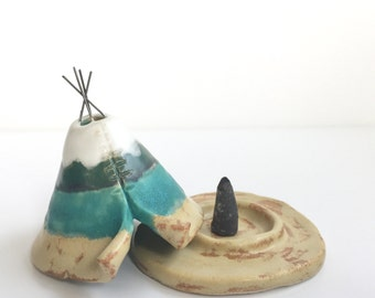 Incense Burner TeePee that smokes, Ceramic Lake View Design, Native American Indian Aztec Design, Stoneware Clay Pottery, Unique Yogi Gift