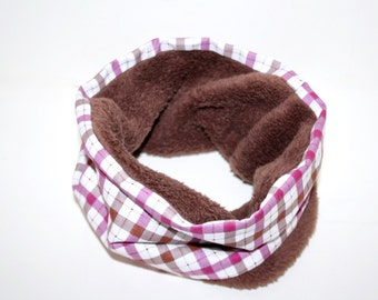 Checkered white magenta brown dogs loop tube scarf