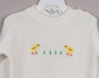 Vintage Embroidered Baby Sweater, 1960's Size 2 Sweater