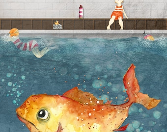 Finbar and the very big Fish - Fine Art A5 postcard with envelope