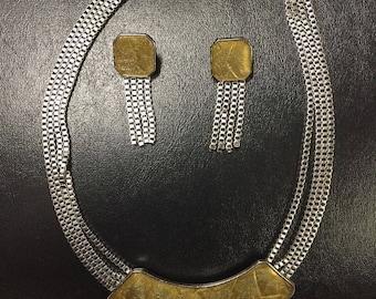 Vintage Trifari Kunio Matsumoto Signed Jewelry Set Necklace & Earrings Gold Glitter Glass demi parure