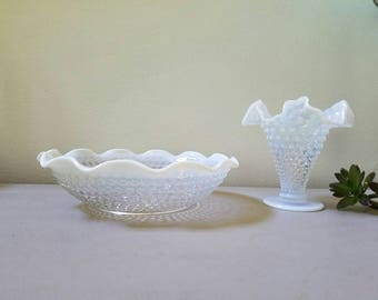 Vintage Opalescent Bowl & Vase Moonstone Hobnail Glass Bowl and Vase Moonstone with Ruffled Crimped Edge