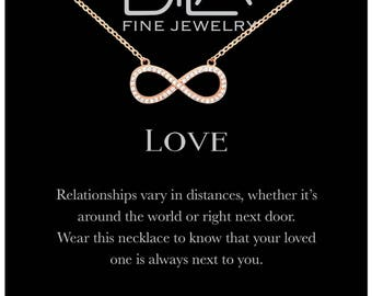 DTLA Infinity Necklace in Sterling Silver with Inspirational Love Quote Card - Rose Gold Plated