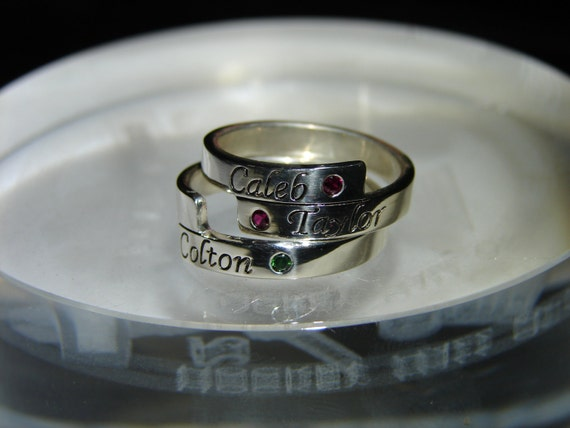 Solid sterling silver stackable Mother's Ring.  Two ring set of stackable Mother's rings with birthstone. Free first class shipping.