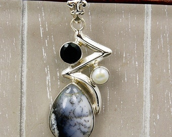 Ice Princess Dendritic Opal Pearl Onyx Pendant , 925 Sterling Silver Pendant , AE766 The SIlver Plaza