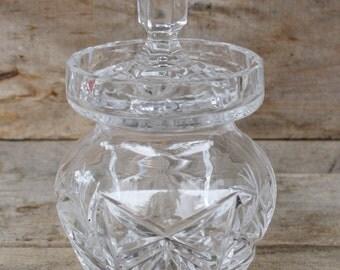 Vintage Cut Crystal Lidded Jam/Sugar Jar