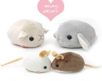 "PDF sewing pattern - stuffed animal hamster mouse rat guinea pig rodent plush - cute kawaii plushie 4"" chinchilla bunny rabbit gerbil mole"