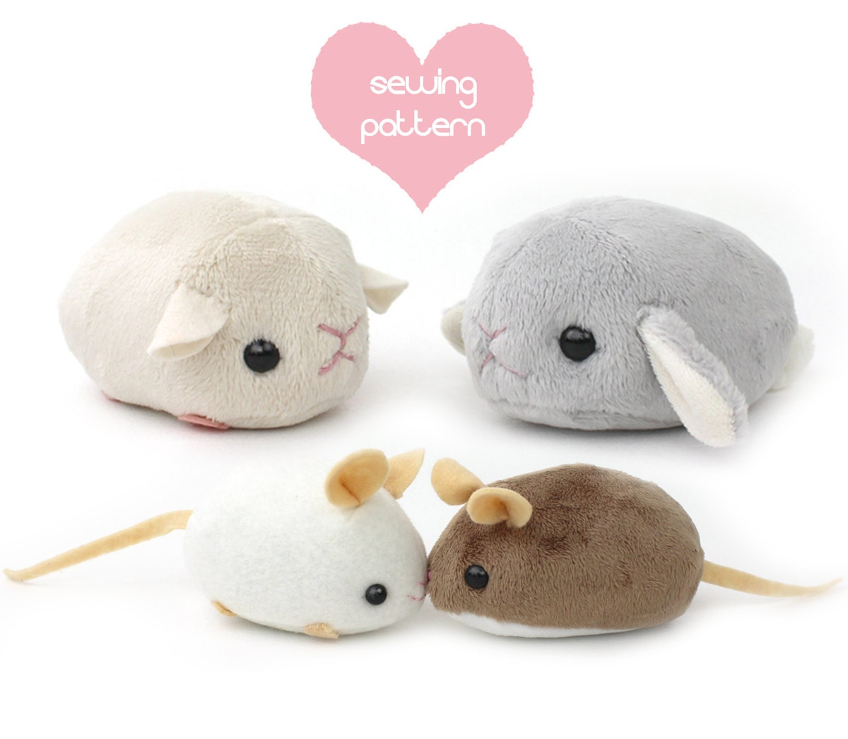 Pdf sewing pattern stuffed animal hamster mouse rat guinea for Sewing templates for stuffed animals