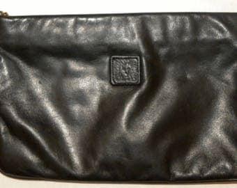 "1980s 80s Anne Klein for Calderon Clutch Purse / handbag / Black Leather Lion Logo / Vintage 9.5"" x 6"""