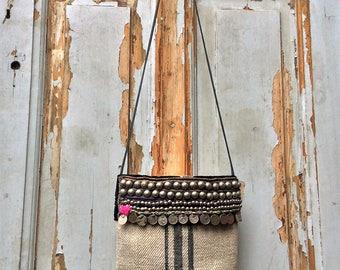 boho bag-grainsack bag-tote bag-shoulder bag-tribal bag-cross body bag-festival bag-handmade-bohochic-Hmong hemp-bohemian