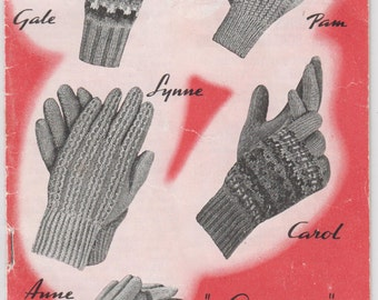 Vintage 1950s Knitting Book Glove Patterns Adult & Childrens 9 glove patterns Fair Ilse gloves, Gauntlet gloves Vintage Charm Knit Pattern