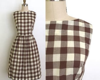 vintage 1950s dress | 50s gingham day dress