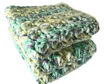 Handmade Dish Cloths Set of 3 Green Yellow Purple Pastel Wash Cloths Crochet Kitchen Dishcloths Eco Friendly Cotton
