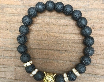 Lava Stone Stretch Bracelet with Leopard charm
