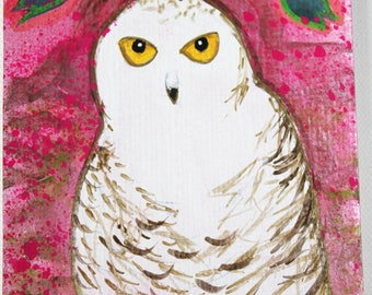 Who Ya Talkin' to? Original Art Owl postcard