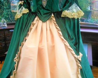 18th century french Marie Antionette crinoline gown custom made with side panniers & hooped petticote to your own measurements and colors