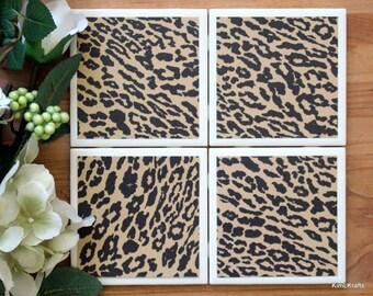 Handmade Coasters - Leopard Print Coasters - Coasters - Drink Coasters - Tile Coasters - Ceramic Coasters - Ceramic Tile Coasters
