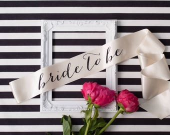 Bachelorette Sash - Black on Ivory