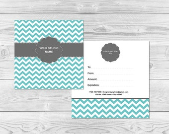 Photography Gift Certificate Template, Chevron Gift Certificate Card PDF Template for Photographers, Editable PDF Template, DIY You Print