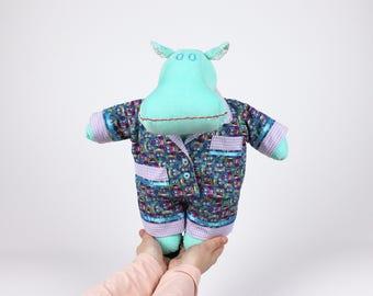 Dress up fabric doll - Hippo stuffed animal - Gift for kids - Soft doll hippopotamus -I want a hippopotamus for Christmas