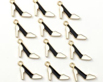 20 high heel shoe charms black white enamel and gold tone,13mm # CH 431