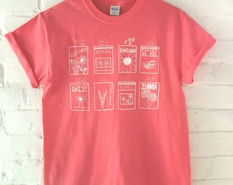 Flower T-Shirt, Garden Shirt, Screen Printed T Shirt, Gardening Gift