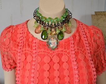 Victorian necklace, Edwardian necklace, Steampunk necklace, Avant-Garde necklace, Unique necklace, High fashion, Elegant necklace, OOAK