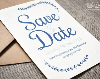 Wedding stationery - x25 save the date wedding invitation cards, modern, vintage wedding design (A6)