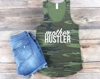 Womens Graphic Tee/ Army Green/ Mom Life Tank top/ Mother Hustler/ Hustle Shirt/ Wife Mom Boss/ Fitness Shirt Workout Tank Mothers Day Gift