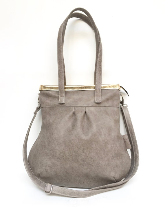 "Leather handbag , Leather Bag grey"" SHELLY BAG "" stone/gold"