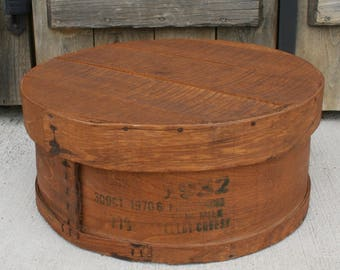 Vintage Large Round Wood Cheese Box With Lid, Wood Cheese Crate, Vintage Cheese Shipping Box