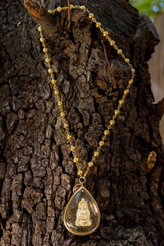 18k Gold Buddha Teardrop Pendant