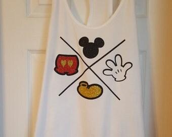 Glitter Disney World Mickey Mouse Symbols X Shirt/Disney World/Disneyland/Mickey Mouse