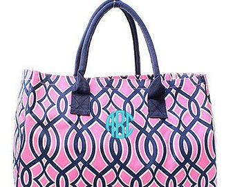 Personalized Ivy Trellis Oversized Large Beach Bag Tote - Navy Monogrammed Embroidered