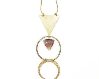 Dark Priestess Necklace with Smokey Quartz Triangle Gem and Brass Crescent