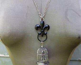 Fleur De Lis Birdcage Necklace Large Statement Necklace