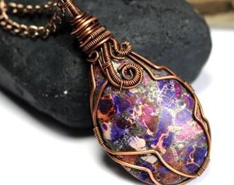 Purple Sea Sediment Jasper with Pyrite - Copper Pendant - Wire Wrapped Necklace - Made in Alaska - Alaska Art