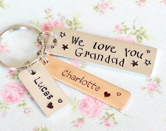Personalised Gift For Grandad, Daddy Keyring, Personalised Pops Gift, From Grandchildren, We Love You, Birthday Gift from Daughter