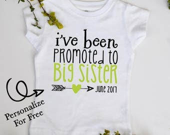 I've Been Promoted to Big SISTER Future Big Sister Youth Tshirt Customize Color and Date
