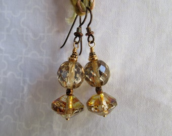 Dressy but Earthy Faceted and Fire Polished Czech Glass Funky Earrings Sparkly Feminine Earrings Hypoallergenic Niobium French Hooks