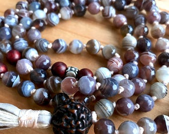 Botswana Agate Mala Necklace , Rare Antique Rudraksha Mala Beads, Rosewood, Thai Silver Healing, Stability, Uplifting, 108 Prayer Beads