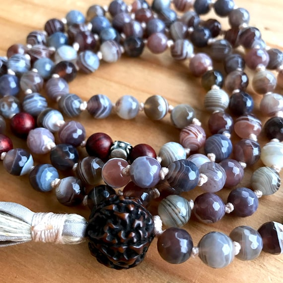 Botswana Agate Mala , Rare Antique Rudraksha, Rosewood, Mala for Change and Positivity, Thai Silver, Healing, Stability, 108 Prayer Beads