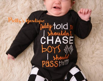 Daddy told me i shouldn't chase boy's i should pass them bodysuit, leg warmers and headband.  Can customize colors/ Name