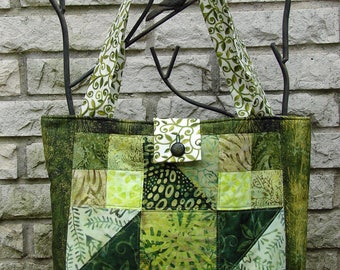 Quilted 9 Patch Tote Bag - Greens