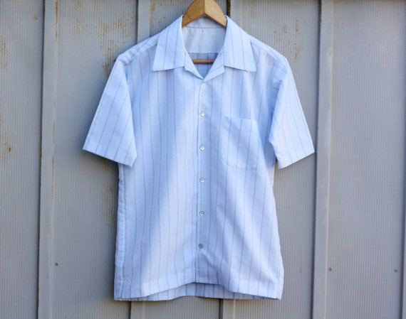 Vintage Handmade Shirt Men's Button Down Shirt Powder